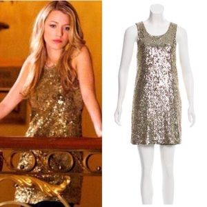 Tory Burch Gold Sequin Mini Dress XS